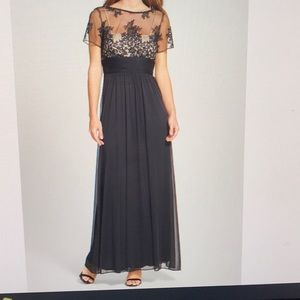 Embroidered Illusion Yoke Mesh Gown